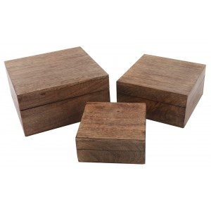 Mango Wood Square Trinket Jewellery Boxes - Set/3