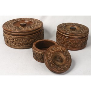 Mango Wood Round Flower Trinket Jewellery Boxes - Set/3