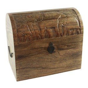 Mango Wood Elephant Design Wine Box