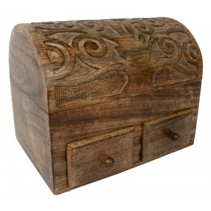 Mango Wood Tree Of Life Dome Top Box With 2 Drawers