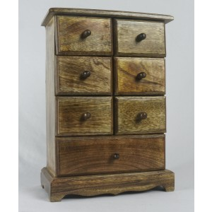 Mango Wood 7 Drawer Jewellery Trinket Chest