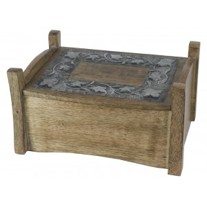 Mango Wood Metal Overlay Design Jewellery Trinket Box