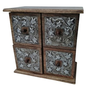 Mango Wood 4 Drawer/Box Metal Overlay Chest