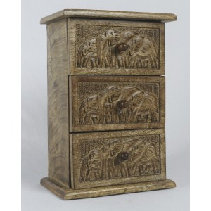 Mango Wood 3 Drawer Elephant Design Chest