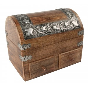 Mango Wood Metal Overlay Dome Top Box With 2 Drawers