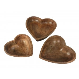 Mango Wood Heart Shaped Bowls - Set/3