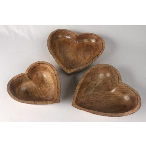 Mango Wood Heart Shaped Bowls - Set/3