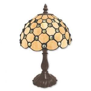 Cream Jewelled Tiffany Table Lamp + Free Bulb (Small)