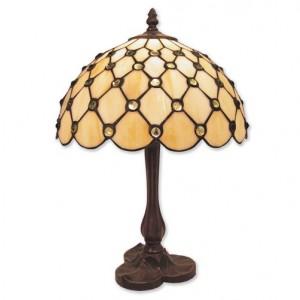 Cream Jewelled Tiffany Table Lamp + Free Bulb (Medium)