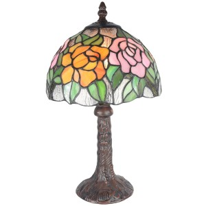 Rose Tiffany Table Lamp 33cm (Small) + Free Bulb