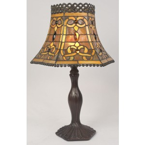 Brown Fretted Tiffany Table Lamp  + Free Bulb