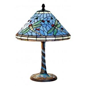 Dragonfly Tiffany Shade & Bronze Tiled Base Table Lamp + Free Bulb