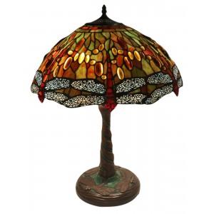 Dragonfly Tiffany Shade & Mosaic Base Table Lamp + Free Bulb