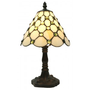 Cream Jewelled Tiffany Table Lamp + Free Bulb - 32cm