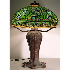 Peacock Tiffany Lamp - Bronze Base