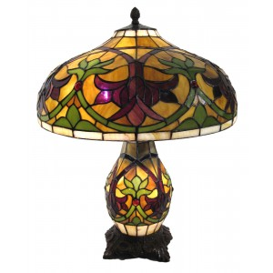 Fleur De Lys Tiffany Umbrella Lamp + Free Bulbs