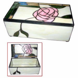 Macintosh Style Pink Rose Glass Trinket Jewellery Box