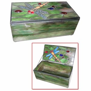 Dragonfly Tiffany Leaded Glass Trinket Jewellery Box
