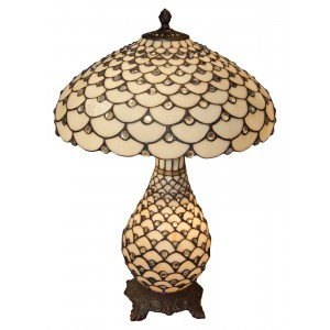 Cream Jewelled Tiffany Umbrella Lamp + Free Bulbs