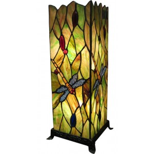 Dragonfly Square Tiffany Table Lamp (Large) + Free Bulbs