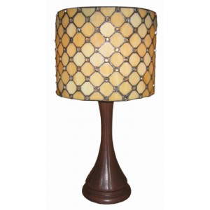 Round Jewelled Design Table Lamp - Large + FREE BULB