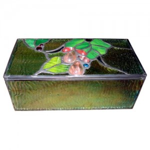 Embossed Grape Tiffany Leaded Glass Trinket Jewellery Box