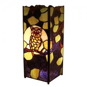 Owl Square Tiffany Lamp 27cm + Free Bulb