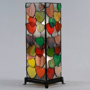 Hearts Design Square Tiffany Table Lamp 47cm + Free Bulbs