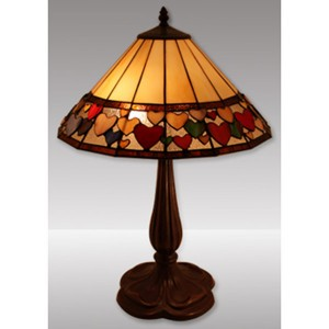 Hearts Design Tiffany Table Lamp (Large) Free Bulb