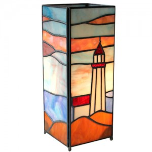 Lighthouse Square Tiffany Lamp + Free Bulb