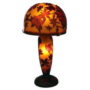 Galle Style Art Nouveau Mushroom Pink Flower Lamp + Free Bulbs
