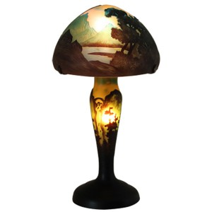 Galle Style Art Nouveau Mushroom Lake Lamp + Free Bulbs