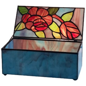 Rose Design Tiffany Style Glass Trinket Jewellery Box