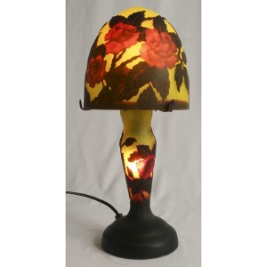 Galle Style Art Nouveau Mushroom Yellow Lamp + Free Bulbs