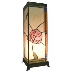 Tiffany Style Table Lamp Mackintosh Rose Design Square Free Bulb 46cm