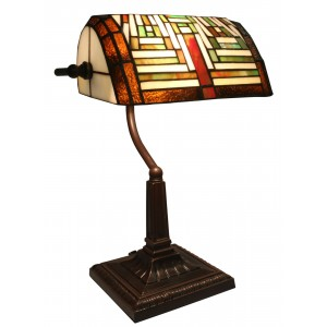 Art Deco Tiffany Bankers Table Lamp - 38cm