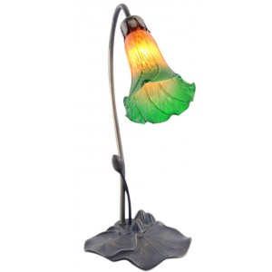 Single Lily Lamp - Amber/Green - 40cm + Free Bulb