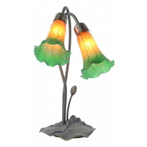 Double Lily Lamp - Amber/Green - 40cm + Free Bulbs