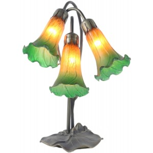 Triple Lily Lamp - Amber/Green - 40cm + Free Bulbs