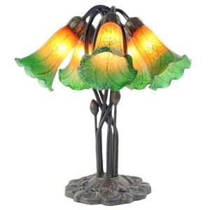 5 Shade Lily Lamp - Amber/Green - 43cm + Free Bulbs