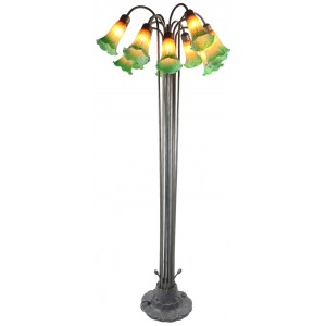 12 Shade Lily Floor Lamp - Amber/Green - 149cm + Free Bulbs