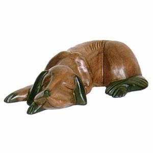 Acacia Wood Dog Sleeping - 33cm