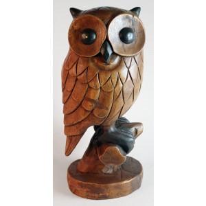 Acacia Wood Owl on Perch - 52cm