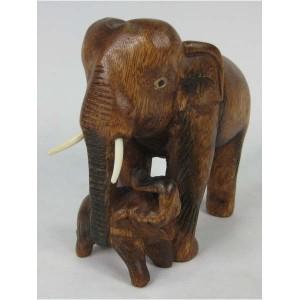 Acacia Wood Elephant & Baby - 16cm