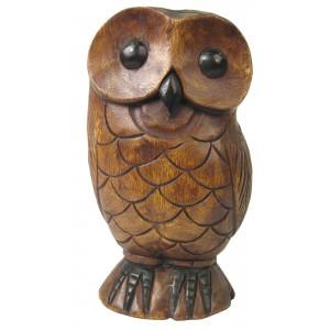 Acacia Wood Owl Sculpture - 30cm