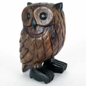 Acacia Wood Owl - 18cm
