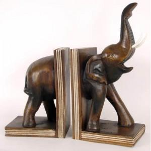 Acacia Wood Elephant Bookends 36cm
