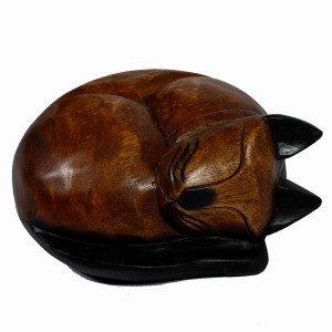 Acacia Wood Cat Sleeping - 15cm