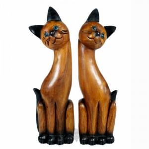 Acacia Wood Cats - Set/2 Long Neck 78cm