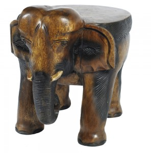 Acacia Wood Elephant Lamp/Plant Stand Stool/Table - 41cm